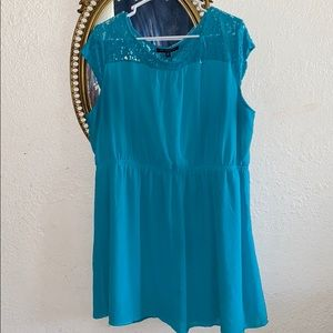 Teal Lace sleeve dress